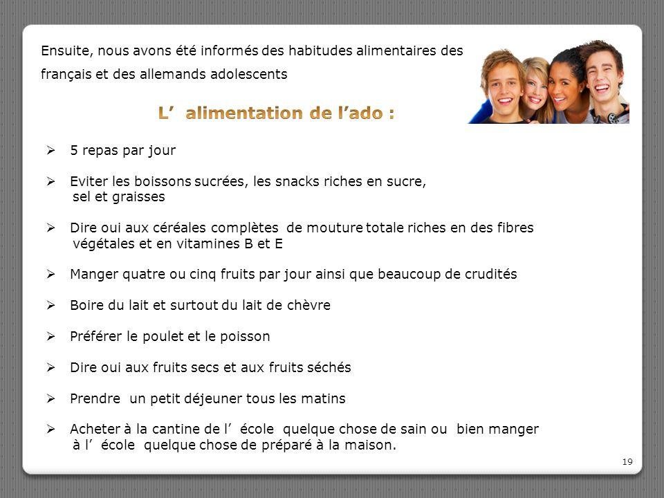 19 Ensuite, nous avons été informés des habitudes alimentaires des français et des allemands adolescents