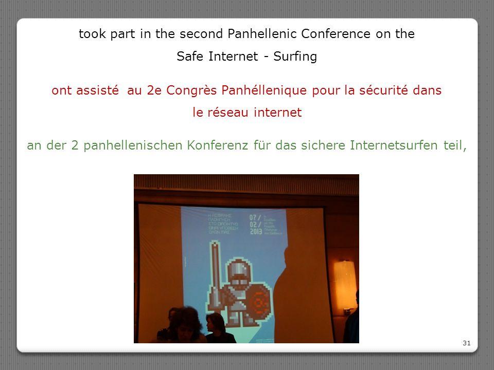 ont assisté au 2e Congrès Panhéllenique pour la sécurité dans le réseau internet 31 an der 2 panhellenischen Konferenz für das sichere Internetsurfen
