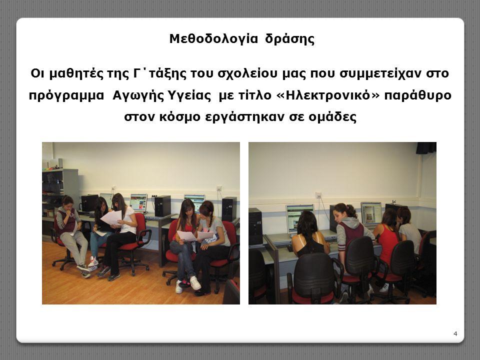 Οι μαθητές της Γ΄τάξης του σχολείου μας που συμμετείχαν στο πρόγραμμα Αγωγής Υγείας με τίτλο «Ηλεκτρονικό» παράθυρο στον κόσμο εργάστηκαν σε ομάδες 4