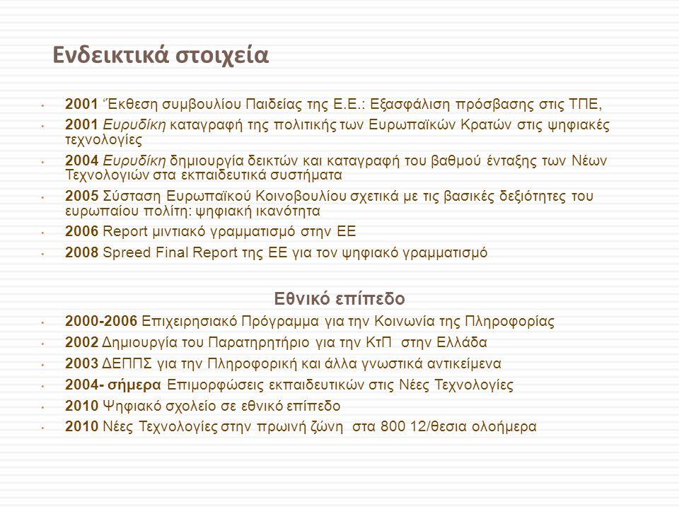 Ενδεικτικά στοιχεία • 2001 'Έκθεση συμβουλίου Παιδείας της Ε.Ε.: Εξασφάλιση πρόσβασης στις ΤΠΕ, • 2001 Ευρυδίκη καταγραφή της πολιτικής των Ευρωπαϊκών