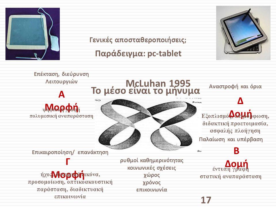 Γενικές αποσταθεροποιήσεις; Παράδειγμα: pc-tablet 17 McLuhan 1995 A Μορφή Γ Μορφή Δ Δομή B Δομή Επέκταση, διεύρυνση Λειτουργιών ψηφιακή γραφή πολυμεσι