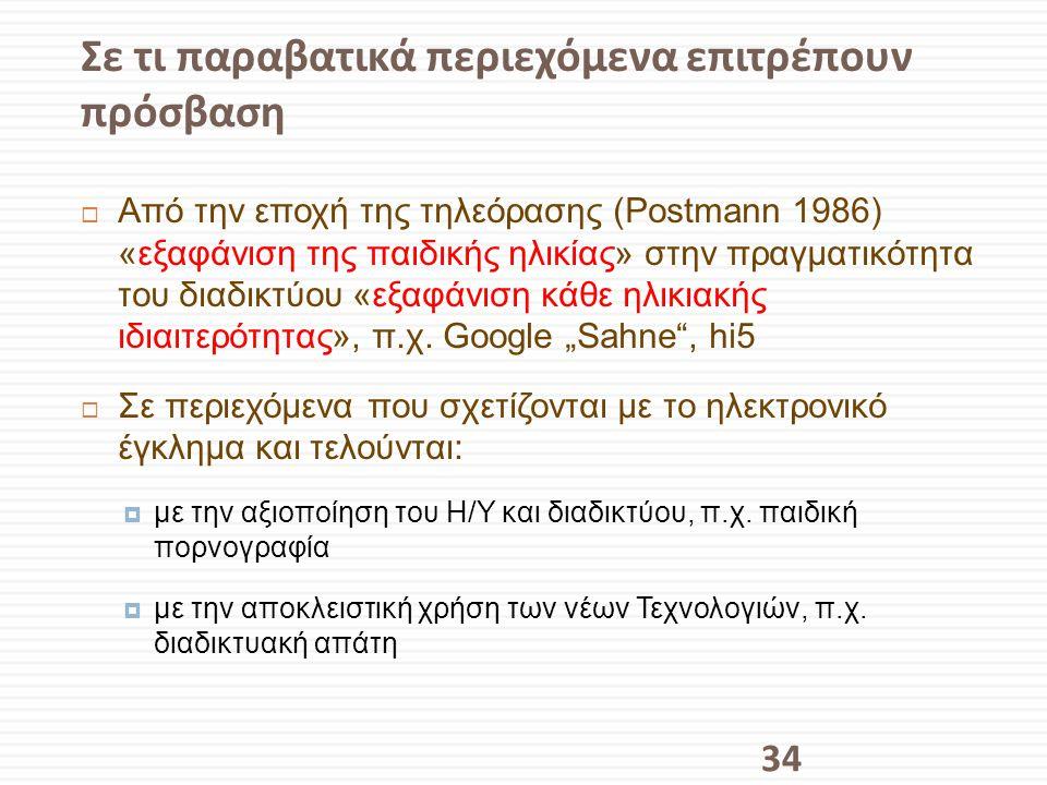 Σε τι παραβατικά περιεχόμενα επιτρέπουν πρόσβαση  Από την εποχή της τηλεόρασης (Postmann 1986) «εξαφάνιση της παιδικής ηλικίας» στην πραγματικότητα τ