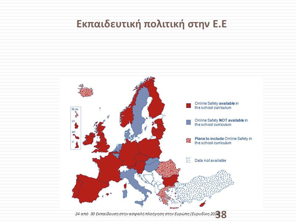 Εκπαιδευτική πολιτική στην Ε.Ε 38 24 από 30 Εκπαίδευση στην ασφαλή πλοήγηση στην Ευρώπη (Ευρυδίκη 2010)