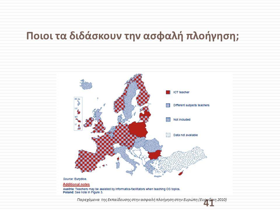 Ποιοι τα διδάσκουν την ασφαλή πλοήγηση; 41 Παρεχόμενα της Εκπαίδευσης στην ασφαλή πλοήγηση στην Ευρώπη (Ευρυδίκη 2010)