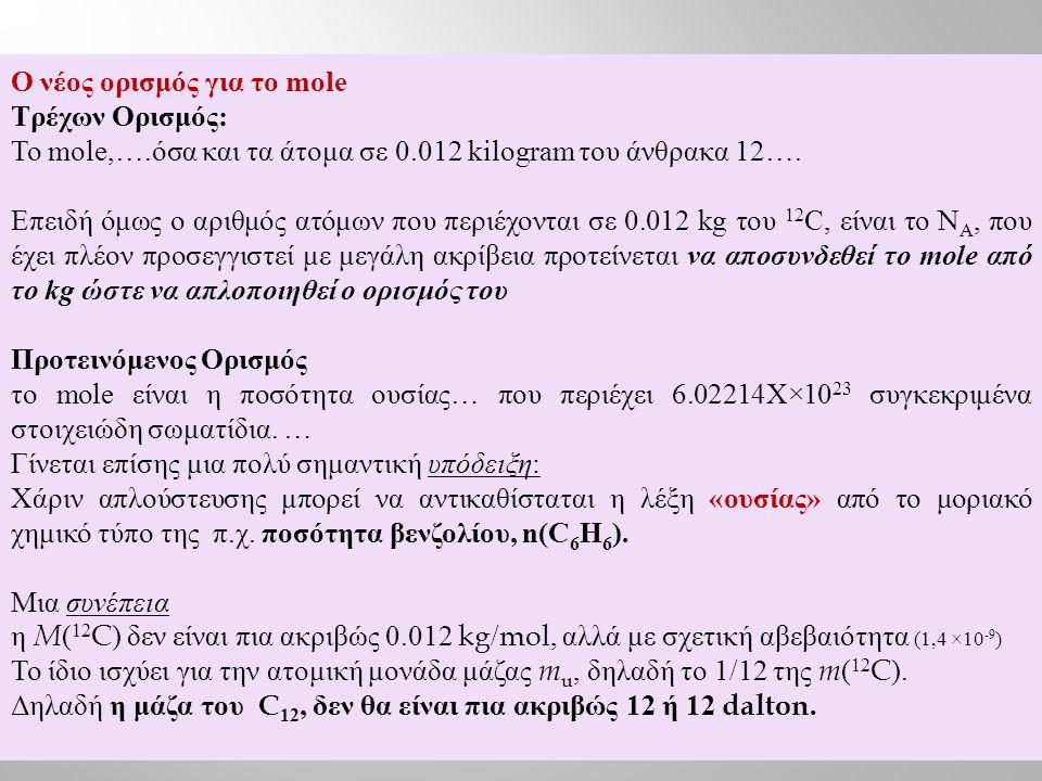 Ο νέος ορισμός για το mole Τρέχων Ορισμός: Το mole,….όσα και τα άτομα σε 0.012 kilogram του άνθρακα 12….