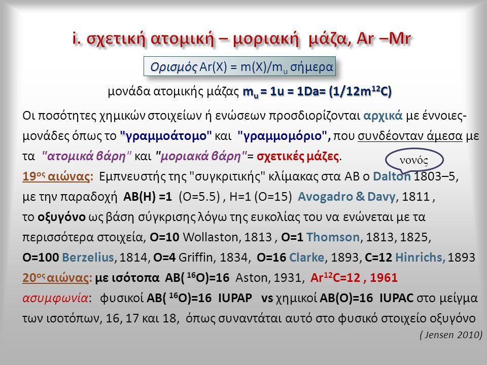 Ορισμός Ορισμός Ar(X) = m(X)/m u σήμερα m u = 1u = 1Da= (1/12m 12 C) μονάδα ατομικής μάζας m u = 1u = 1Da= (1/12m 12 C) Οι ποσότητες χημικών στοιχείων ή ενώσεων προσδιορίζονται αρχικά με έννοιες- μονάδες όπως το γραμμοάτομο και γραμμομόριο , που συνδέονταν άμεσα με τα ατομικά βάρη και μοριακά βάρη = σχετικές μάζες.