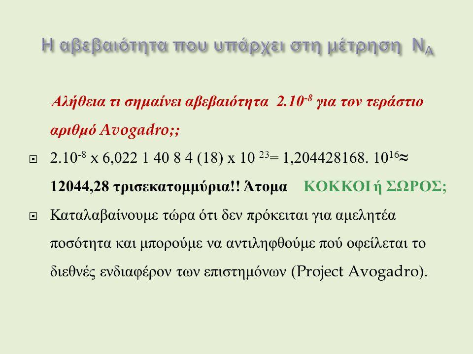 Αλήθεια τι σημαίνει αβεβαιότητα 2.10 -8 για τον τεράστιο αριθμό Avogadro;;  2.10 -8 x 6,022 1 40 8 4 (18) x 10 23 = 1,204428168.