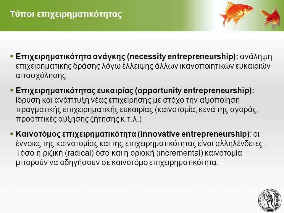Τύποι επιχειρηματικότητας  Επιχειρηματικότητα ανάγκης (necessity entrepreneurship): ανάληψη επιχειρηματικής δράσης λόγω έλλειψης άλλων ικανοποιητικών ευκαιριών απασχόλησης  Επιχειρηματικότητας ευκαιρίας (opportunity entrepreneurship): ίδρυση και ανάπτυξη νέας επιχείρησης με στόχο την αξιοποίηση πραγματικής επιχειρηματικής ευκαιρίας (καινοτομία, κενά της αγοράς, προοπτικές αύξησης ζήτησης κ.τ.λ.)  Καινοτόμος επιχειρηματικότητα (innovative entrepreneurship): οι έννοιες της καινοτομίας και της επιχειρηματικότητας είναι αλληλένδετες.