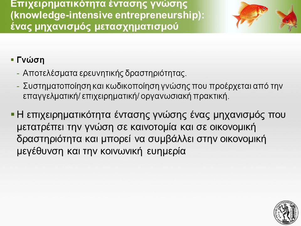 Επιχειρηματικότητα εντάσεως γνώσης : Πως ορίζεται; Σύμφωνα με το διευρωπαϊκό ερευνητικό πρόγραμμα AEGIS:  Δημιουργία μιας νέας επιχείρησης -Αυτοτελής, ή -Παράγωγη μιας υφιστάμενης επιχείρησης (spin off, spin out)  νέα επιχειρηματική δραστηριότητα  Καινοτόμα ως προς μια τουλάχιστον διάσταση: -Νέο ή βελτιωμένο προϊόν, -Νέα ή βελτιωμένη παραγωγική διαδικασία/ διεργασία, -Νέο ή βελτιωμένο επιχειρηματικό/ οργανωσιακό μοντέλο -Νέα αγορά (άνοιγμα ή δημιουργία)