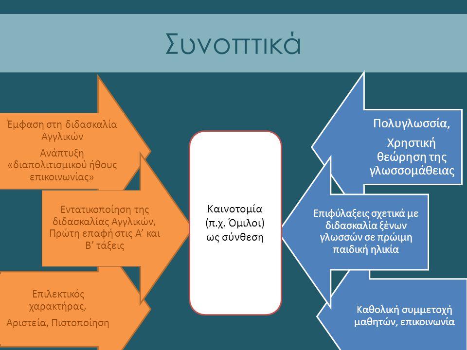 Καθολική συμμετοχή μαθητών, επικοινωνία Πολυγλωσσία, Χρηστική θεώρηση της γλωσσομάθειας Έμφαση στη διδασκαλία Αγγλικών Ανάπτυξη «διαπολιτισμικού ήθους επικοινωνίας» Επιλεκτικός χαρακτήρας, Αριστεία, Πιστοποίηση Συνοπτικά Εντατικοποίηση της διδασκαλίας Αγγλικών, Πρώτη επαφή στις Α' και Β' τάξεις Επιφύλαξεις σχετικά με διδασκαλία ξένων γλωσσών σε πρώιμη παιδική ηλικία Καινοτομία (π.χ.