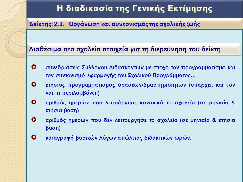 Η διαδικασία της Γενικής Εκτίμησης Δείκτης: 2.1. Οργάνωση και συντονισμός της σχολικής ζωής Διαθέσιμα στο σχολείο στοιχεία για τη διερεύνηση του δείκτ