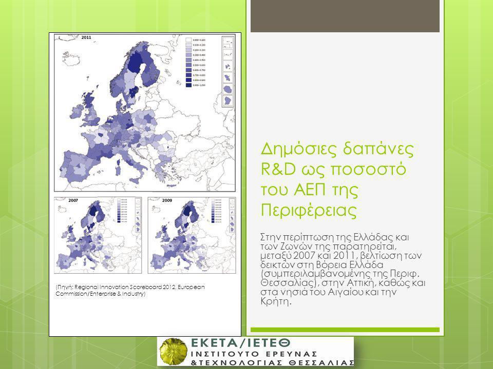 Δημόσιες δαπάνες R&D ως ποσοστό του ΑΕΠ της Περιφέρειας Στην περίπτωση της Ελλάδας και των Ζωνών της παρατηρείται, μεταξύ 2007 και 2011, βελτίωση των