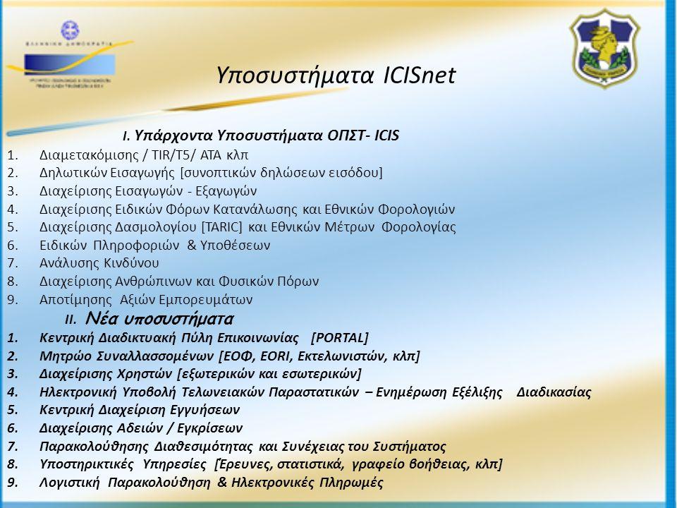 Ι. Υπάρχοντα Υποσυστήματα ΟΠΣΤ- ICIS 1. Διαμετακόμισης / TIR/T5/ ATA κλπ 2.