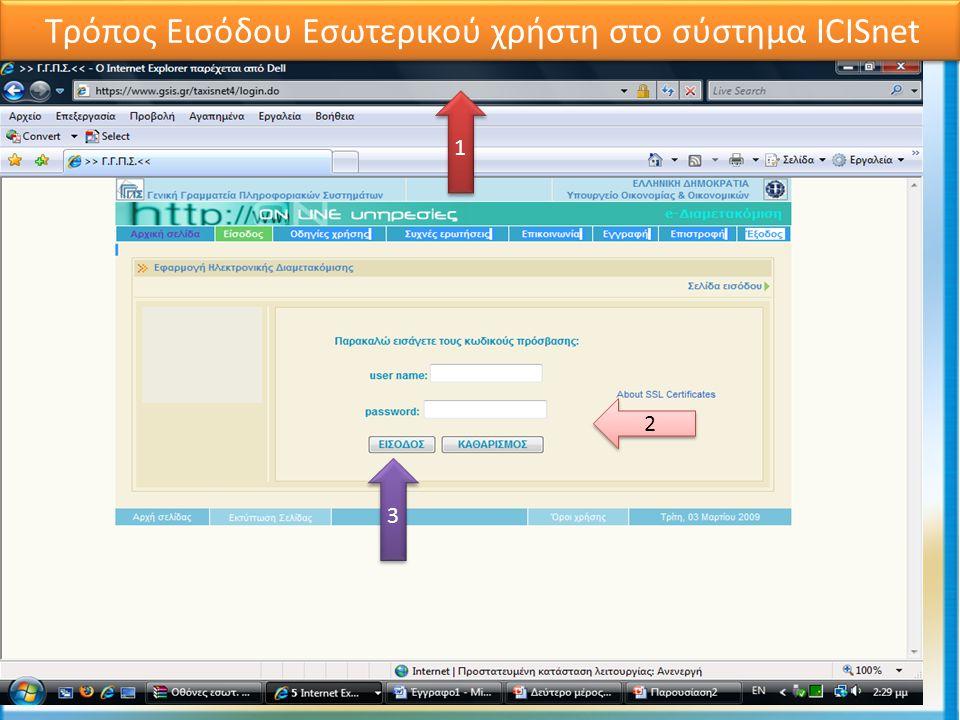 Ενέργειες Προϊσταμένου Τμήματος Ελέγχων 1 1 2 2 3 3 Τρόπος Εισόδου Εσωτερικού χρήστη στο σύστημα ICISnet