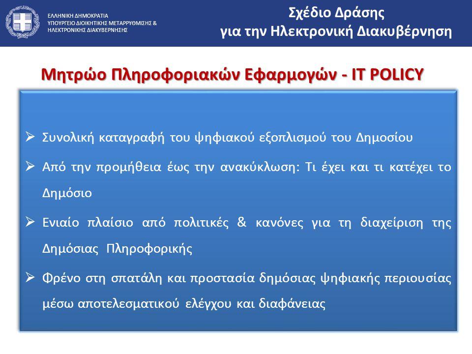 ΕΛΛΗΝΙΚΗ ΔΗΜΟΚΡΑΤΙΑ ΥΠΟΥΡΓΕΙΟ ΔΙΟΙΚΗΤΙΚΗΣ ΜΕΤΑΡΡΥΘΜΙΣΗΣ & ΗΛΕΚΤΡΟΝΙΚΗΣ ΔΙΑΚΥΒΕΡΝΗΣΗΣ Μητρώο Πληροφοριακών Εφαρμογών - IT POLICY Σχέδιο Δράσης για την