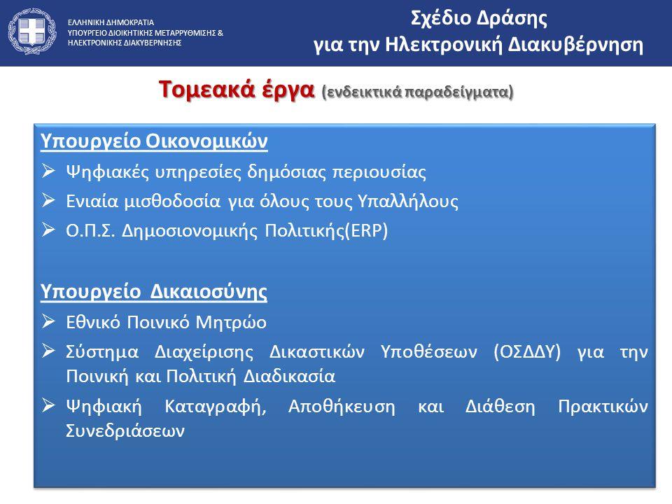 ΕΛΛΗΝΙΚΗ ΔΗΜΟΚΡΑΤΙΑ ΥΠΟΥΡΓΕΙΟ ΔΙΟΙΚΗΤΙΚΗΣ ΜΕΤΑΡΡΥΘΜΙΣΗΣ & ΗΛΕΚΤΡΟΝΙΚΗΣ ΔΙΑΚΥΒΕΡΝΗΣΗΣ Τομεακά έργα (ενδεικτικά παραδείγματα) Υπουργείο Οικονομικών  Ψη
