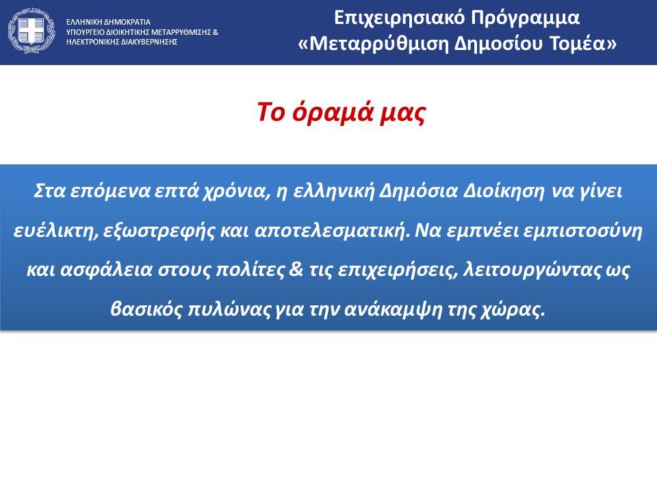 ΕΛΛΗΝΙΚΗ ΔΗΜΟΚΡΑΤΙΑ ΥΠΟΥΡΓΕΙΟ ΔΙΟΙΚΗΤΙΚΗΣ ΜΕΤΑΡΡΥΘΜΙΣΗΣ & ΗΛΕΚΤΡΟΝΙΚΗΣ ΔΙΑΚΥΒΕΡΝΗΣΗΣ Στα επόμενα επτά χρόνια, η ελληνική Δημόσια Διοίκηση να γίνει ευέ