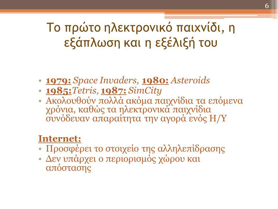 Το πρώτο ηλεκτρονικό παιχνίδι, η εξάπλωση και η εξέλιξή του •1979: Space Invaders, 1980: Asteroids •1985:Tetris, 1987: SimCity •Ακολουθούν πολλά ακόμα