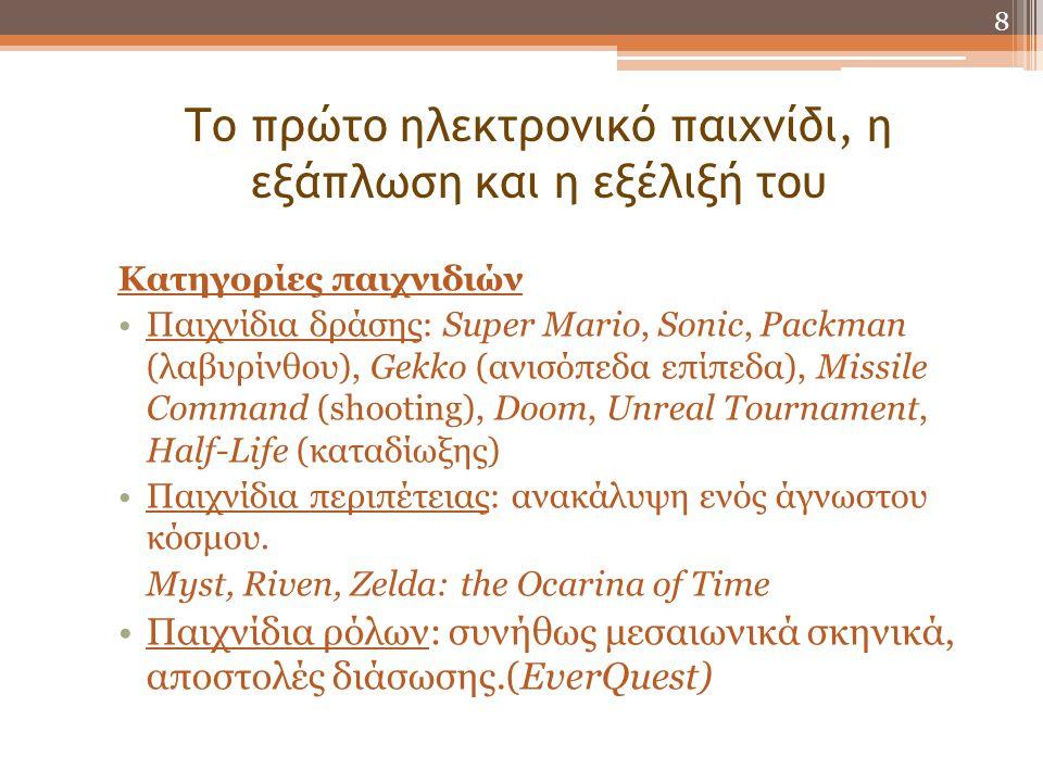 Το πρώτο ηλεκτρονικό παιχνίδι, η εξάπλωση και η εξέλιξή του Κατηγορίες παιχνιδιών •Παιχνίδια δράσης: Super Mario, Sonic, Packman (λαβυρίνθου), Gekko (