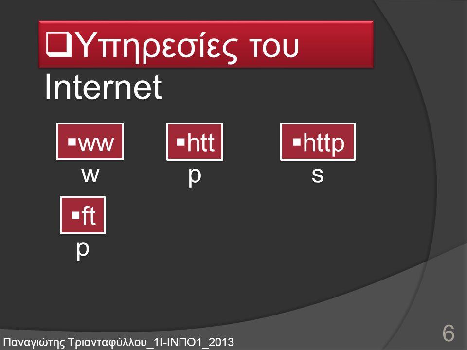 Περιεχόμεν α  Υπηρεσίες του Internet  Διαδικτυακές εφαρμογές  Κοινωνική δικτύωση Παναγιώτης Τριανταφύλλου_1Ι-ΙΝΠΟ1_2013 5