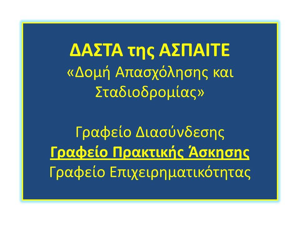 ΔΑΣΤΑ της ΑΣΠΑΙΤΕ «Δομή Απασχόλησης και Σταδιοδρομίας» Γραφείο Διασύνδεσης Γραφείο Πρακτικής Άσκησης Γραφείο Επιχειρηματικότητας