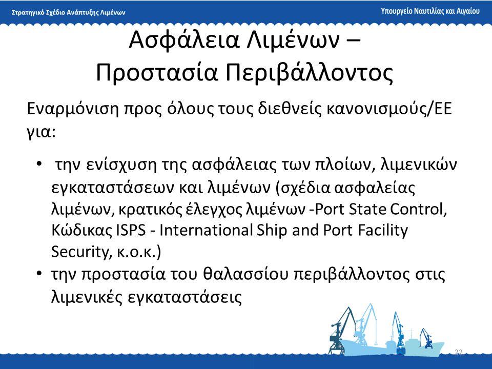 22 Ασφάλεια Λιμένων – Προστασία Περιβάλλοντος Εναρμόνιση προς όλους τους διεθνείς κανονισμούς/ΕΕ για: • την ενίσχυση της ασφάλειας των πλοίων, λιμενικ