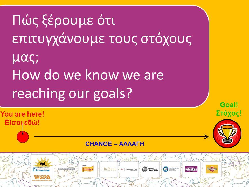 Πώς ξέρουμε ότι επιτυγχάνουμε τους στόχους μας; How do we know we are reaching our goals.