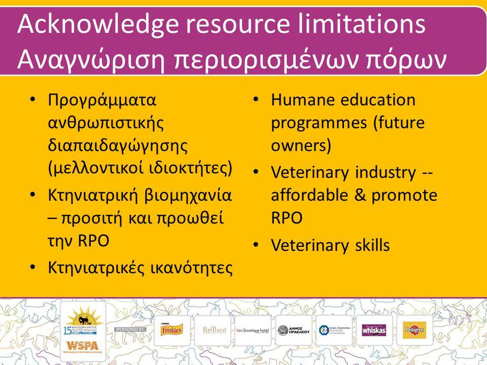 Acknowledge resource limitations Αναγνώριση περιορισμένων πόρων • Προγράμματα ανθρωπιστικής διαπαιδαγώγησης (μελλοντικοί ιδιοκτήτες) • Κτηνιατρική βιομηχανία – προσιτή και προωθεί την RPO • Κτηνιατρικές ικανότητες • Humane education programmes (future owners) • Veterinary industry -- affordable & promote RPO • Veterinary skills