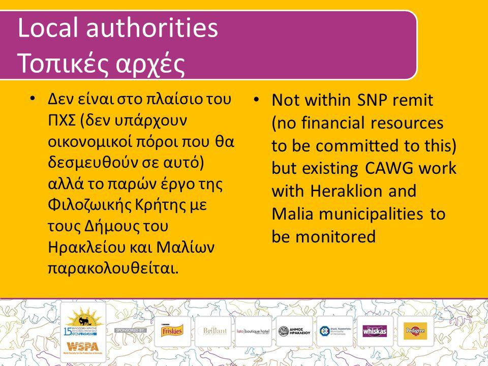 Local authorities Τοπικές αρχές • Δεν είναι στο πλαίσιο του ΠΧΣ (δεν υπάρχουν οικονομικοί πόροι που θα δεσμευθούν σε αυτό) αλλά το παρών έργο της Φιλοζωικής Κρήτης με τους Δήμους του Ηρακλείου και Μαλίων παρακολουθείται.