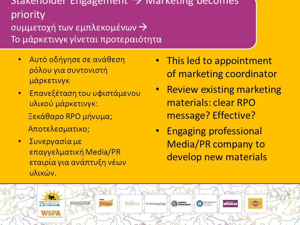 Stakeholder Engagement  Marketing becomes priority συμμετοχή των εμπλεκομένων  Το μάρκετινγκ γίνεται προτεραιότητα • Αυτό οδήγησε σε ανάθεση ρόλου για συντονιστή μάρκετινγκ • Επανεξέταση του υφιστάμενου υλικού μάρκετινγκ: Ξεκάθαρο RPO μήνυμα; Αποτελεσματικο; • Συνεργασία με επαγγελματική Media/PR εταιρία για ανάπτυξη νέων υλικών.