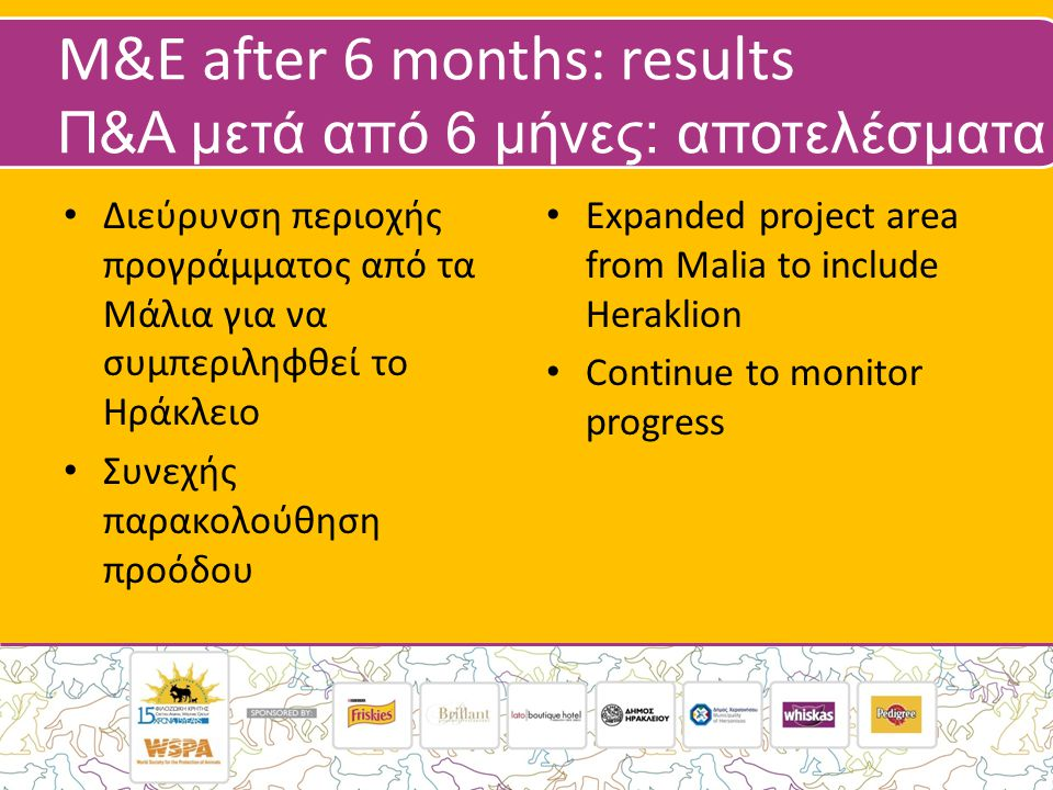 M&E after 6 months: results Π&Α μετά από 6 μήνες: αποτελέσματα • Διεύρυνση περιοχής προγράμματος από τα Μάλια για να συμπεριληφθεί το Ηράκλειο • Συνεχής παρακολούθηση προόδου • Expanded project area from Malia to include Heraklion • Continue to monitor progress