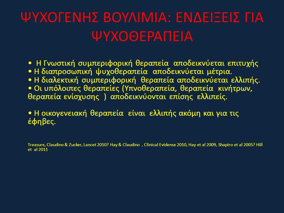 ΨΥΧΟΓΕΝΗΣ ΒΟΥΛΙΜΙΑ: ΕΝΔΕΙΞΕΙΣ ΓΙΑ ΨΥΧΟΘΕΡΑΠΕΙΑ • Η Γνωστική συμπεριφορική θεραπεία αποδεικνύεται επιτυχής • Η διαπροσωπική ψυχοθεραπεία αποδεικνύεται