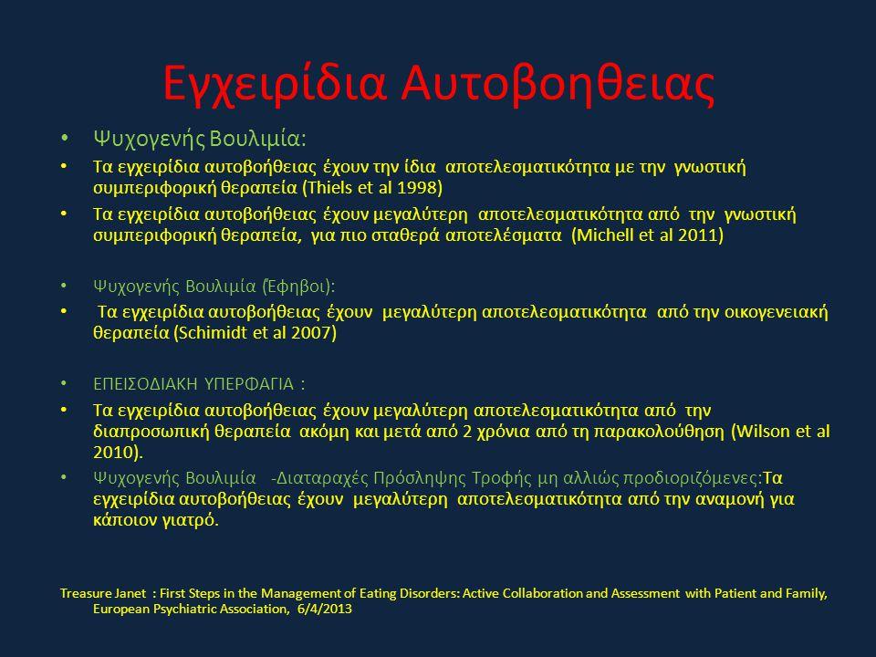 Εγχειρίδια Αυτοβοηθειας • Ψυχογενής Βουλιμία: • Τα εγχειρίδια αυτοβοήθειας έχουν την ίδια αποτελεσματικότητα με την γνωστική συμπεριφορική θεραπεία (Τ