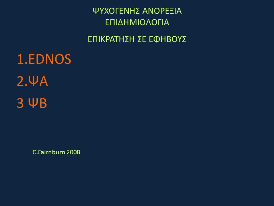 ΨΥΧΟΓΕΝΗΣ ΑΝΟΡΕΞΙΑ ΕΠΙΔΗΜΙΟΛΟΓΙΑ ΕΠΙΚΡΑΤΗΣΗ ΣΕ ΕΦΗΒΟΥΣ 1.EDNOS 2.ΨΑ 3 ΨΒ C.Fairnburn 2008