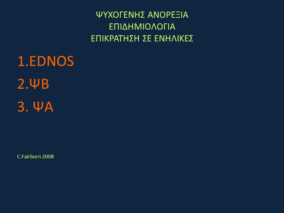 ΨΥΧΟΓΕΝΗΣ ΑΝΟΡΕΞΙΑ ΕΠΙΔΗΜΙΟΛΟΓΙΑ ΕΠΙΚΡΑΤΗΣΗ ΣΕ ΕΝΗΛΙΚΕΣ 1.EDNOS 2.ΨΒ 3. ΨΑ C.Fairburn 2008