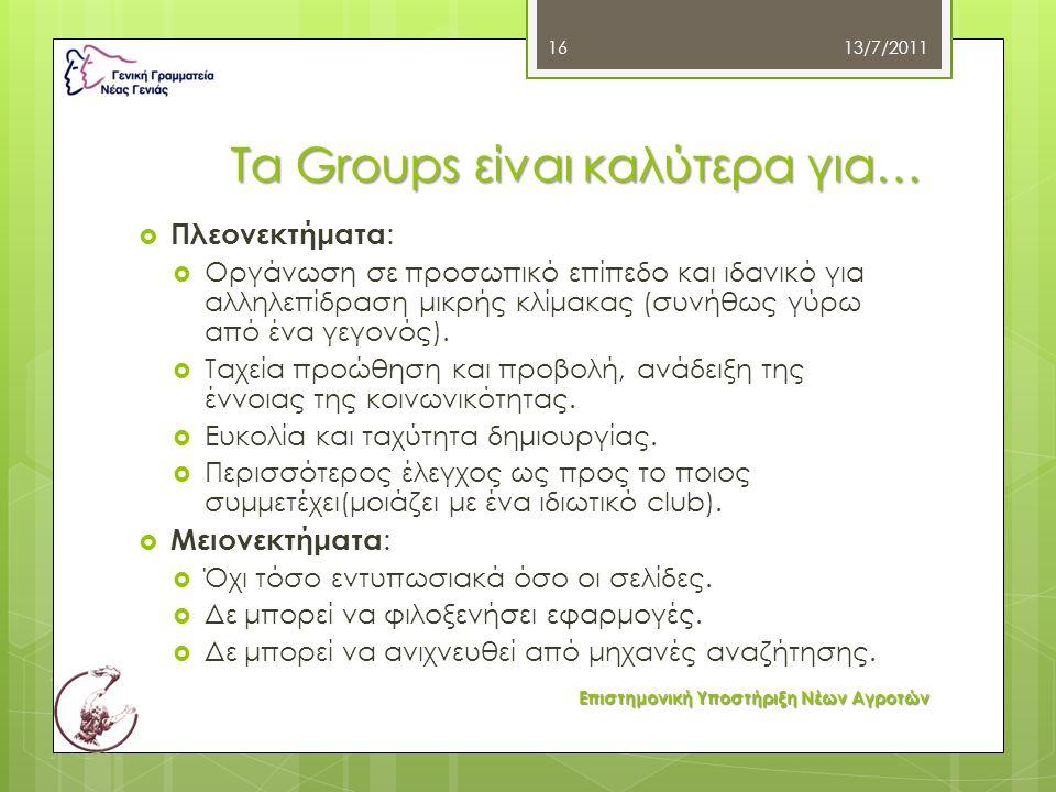 Τα Groups είναι καλύτερα για…  Πλεονεκτήματα :  Οργάνωση σε προσωπικό επίπεδο και ιδανικό για αλληλεπίδραση μικρής κλίμακας (συνήθως γύρω από ένα γε