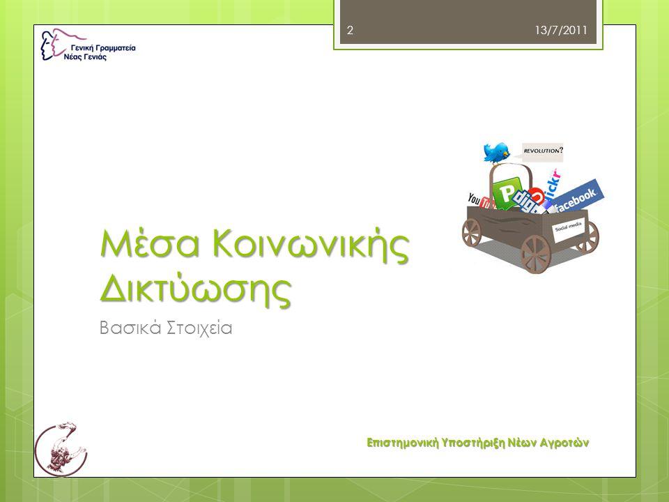 Μέσα Κοινωνικής Δικτύωσης Βασικά Στοιχεία 13/7/2011 2 Επιστημονική Υποστήριξη Νέων Αγροτών