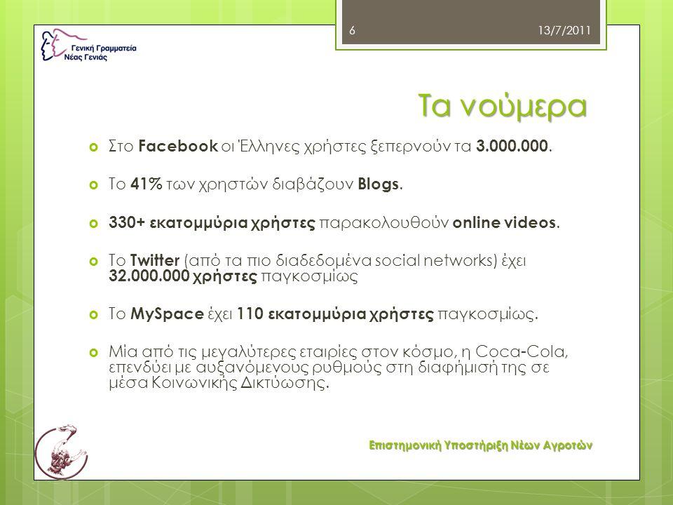 Τα νούμερα  Στο Facebook οι Έλληνες χρήστες ξεπερνούν τα 3.000.000.  Το 41% των χρηστών διαβάζουν Blogs.  330+ εκατομμύρια χρήστες παρακολουθούν on