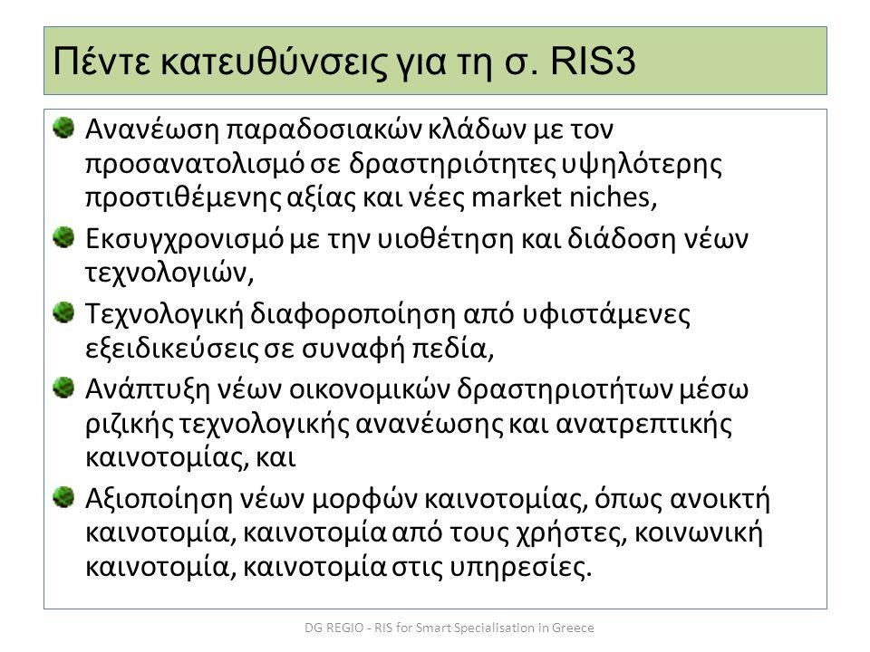 Πέντε κατευθύνσεις για τη σ. RIS3 Ανανέωση παραδοσιακών κλάδων με τον προσανατολισμό σε δραστηριότητες υψηλότερης προστιθέμενης αξίας και νέες market