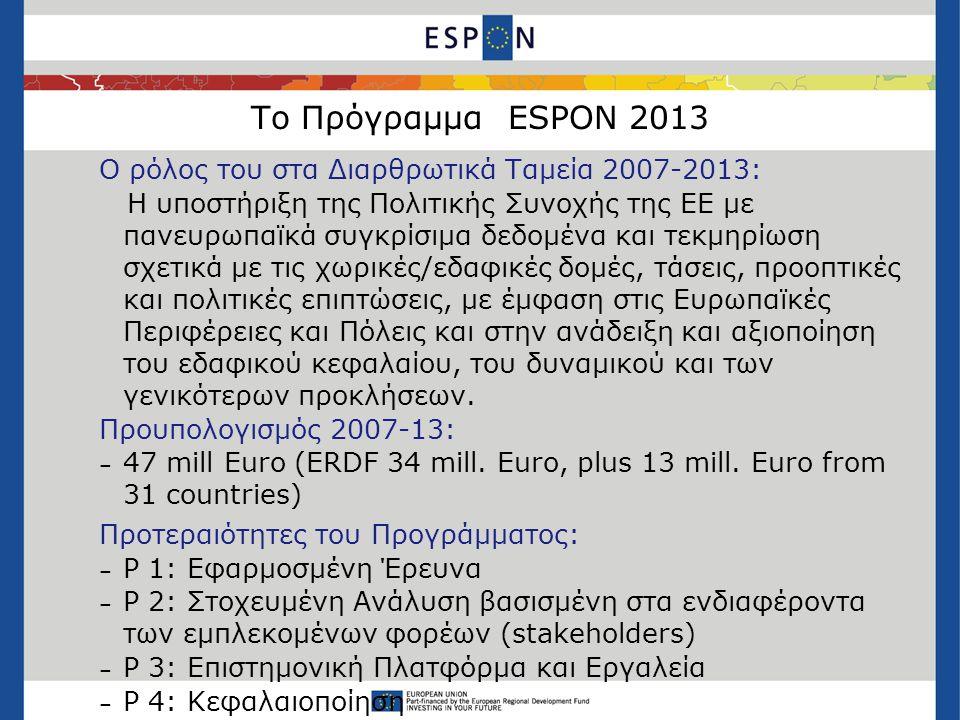 Το Πρόγραμμα ESPON 2013 Ο ρόλος του στα Διαρθρωτικά Ταμεία 2007-2013: Η υποστήριξη της Πολιτικής Συνοχής της ΕΕ με πανευρωπαϊκά συγκρίσιμα δεδομένα και τεκμηρίωση σχετικά με τις χωρικές/εδαφικές δομές, τάσεις, προοπτικές και πολιτικές επιπτώσεις, με έμφαση στις Ευρωπαϊκές Περιφέρειες και Πόλεις και στην ανάδειξη και αξιοποίηση του εδαφικού κεφαλαίου, του δυναμικού και των γενικότερων προκλήσεων.