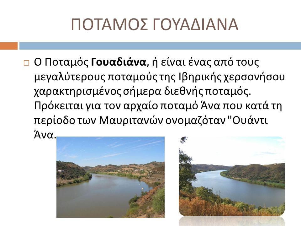 ΠΟΤΑΜΟΣ ΓΟΥΑΔΙΑΝΑ  Ο Ποταμός Γουαδιάνα, ή είναι ένας από τους μεγαλύτερους ποταμούς της Ιβηρικής χερσονήσου χαρακτηρισμένος σήμερα διεθνής ποταμός. Π