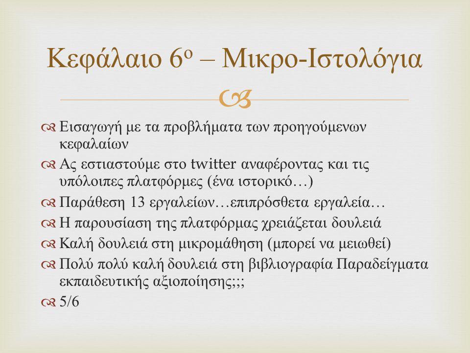   Εισαγωγή με τα προβλήματα των προηγούμενων κεφαλαίων  Ας εστιαστούμε στο twitter αναφέροντας και τις υπόλοιπες πλατφόρμες ( ένα ιστορικό …)  Παράθεση 13 εργαλείων … επιπρόσθετα εργαλεία …  Η παρουσίαση της πλατφόρμας χρειάζεται δουλειά  Καλή δουλειά στη μικρομάθηση ( μπορεί να μειωθεί )  Πολύ πολύ καλή δουλειά στη βιβλιογραφία Παραδείγματα εκπαιδευτικής αξιοποίησης ;;;  5/6 Κεφάλαιο 6 ο – Μικρο - Ιστολόγια