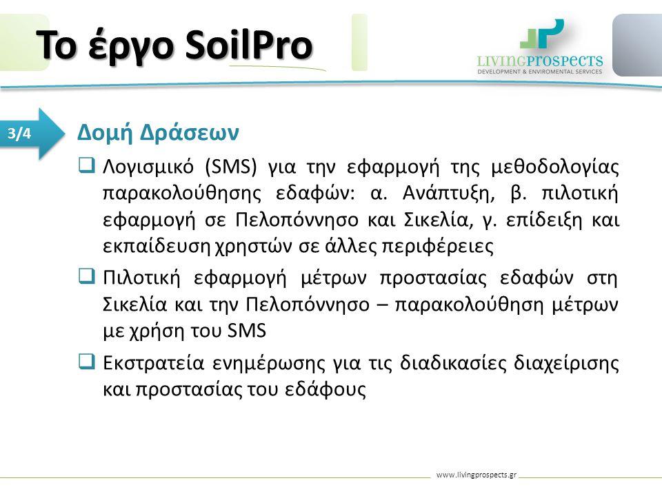 www.livingprospects.gr 3/4 Δομή Δράσεων  Λογισμικό (SMS) για την εφαρμογή της μεθοδολογίας παρακολούθησης εδαφών: α. Ανάπτυξη, β. πιλοτική εφαρμογή σ