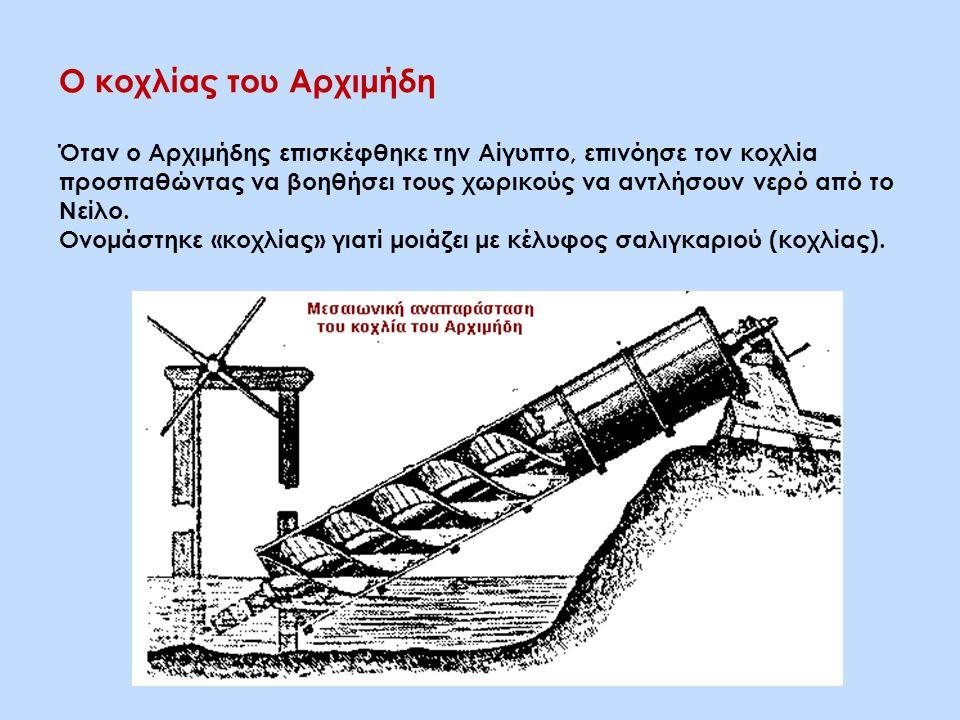 Ο κοχλίας του Αρχιμήδη Όταν ο Αρχιμήδης επισκέφθηκε την Αίγυπτο, επινόησε τον κοχλία προσπαθώντας να βοηθήσει τους χωρικούς να αντλήσουν νερό από το Νείλο.