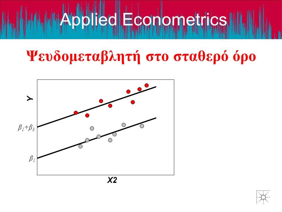 Applied Econometrics Ψευδομεταβλητή στο σταθερό όρο β1+β3β1+β3 β1β1