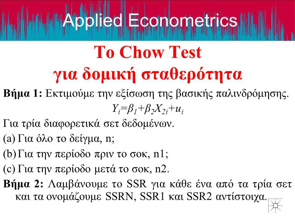 Applied Econometrics Το Chow Test για δομική σταθερότητα Βήμα 1: Εκτιμούμε την εξίσωση της βασικής παλινδρόμησης. Y i =β 1 +β 2 X 2i +u i Για τρία δια