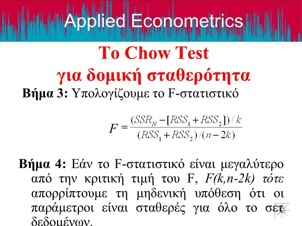 Applied Econometrics Το Chow Test για δομική σταθερότητα Βήμα 3: Υπολογίζουμε το F-στατιστικό F Βήμα 4: Εάν το F-στατιστικό είναι μεγαλύτερο από την κ