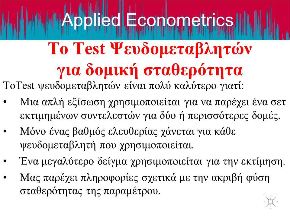Applied Econometrics Το Test Ψευδομεταβλητών για δομική σταθερότητα ΤοTest ψευδομεταβλητών είναι πολύ καλύτερο γιατί: •Μια απλή εξίσωση χρησιμοποιείτα