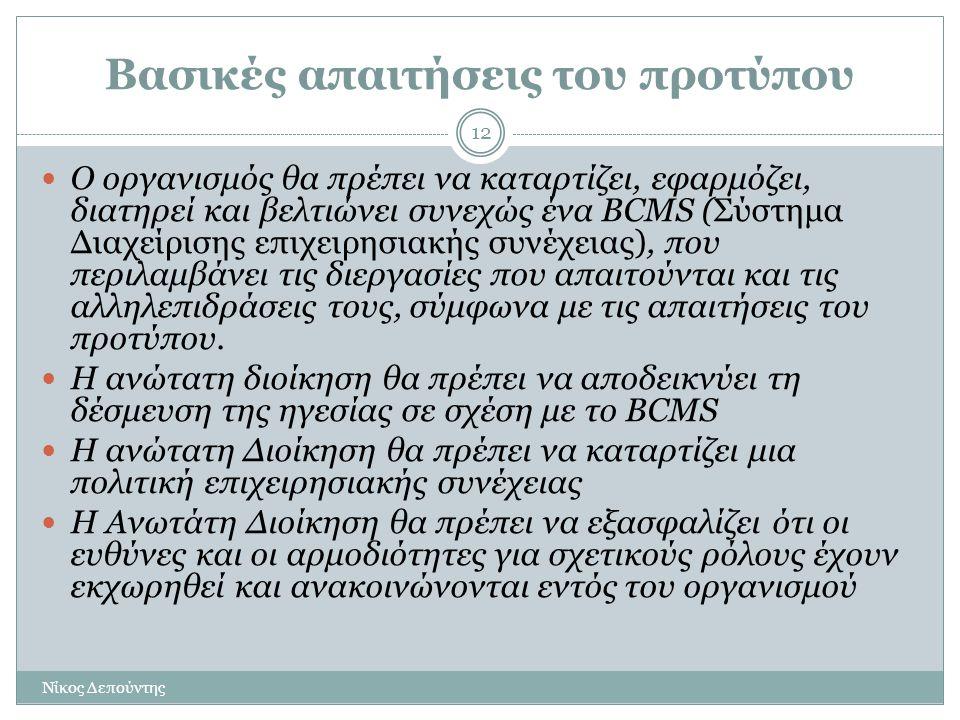 Βασικές απαιτήσεις του προτύπου Νίκος Δεπούντης 12  Ο οργανισμός θα πρέπει να καταρτίζει, εφαρμόζει, διατηρεί και βελτιώνει συνεχώς ένα BCMS (Σύστημα