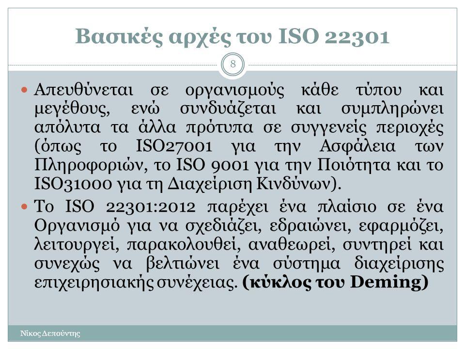 Βασικές αρχές του ISO 22301 Νίκος Δεπούντης 8  Απευθύνεται σε οργανισμούς κάθε τύπου και μεγέθους, ενώ συνδυάζεται και συμπληρώνει απόλυτα τα άλλα πρ